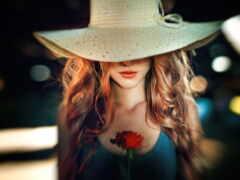 шляпа, девушка, redhead