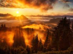 закат, осень, схема
