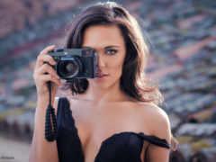 девушка, обнаженная, фотоаппарат