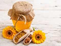 мед, баночка, yellow