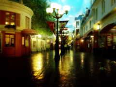 уютный, город, дождь