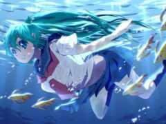 anime, underwater, волосы