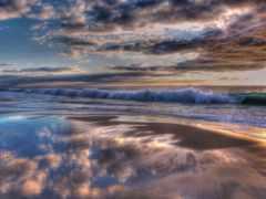 zakat, oblaka, океан
