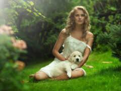 собака, природа, девушка