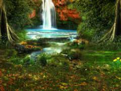 водопад, природа, simple