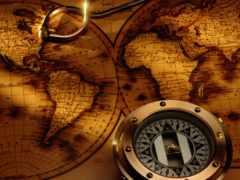 компас, карта, antique