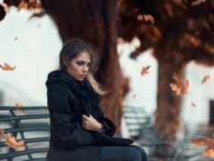 девушка, скамейка, sit