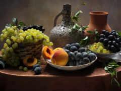 персик, виноград