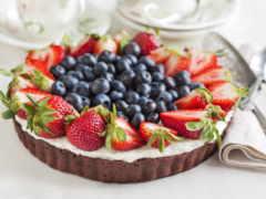 торт, chocolate, strawberries