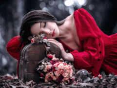 девушка, волосы, роза