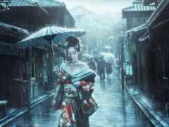 дождь, drawing, азиатка