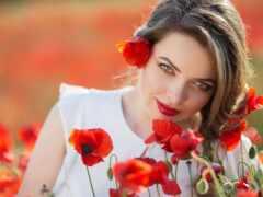красивый, девушка, цветы