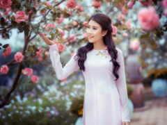 asian, девушка, garden