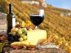 вино, виноград, сыр