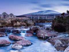 камень, гора, река