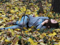 осень, лес, девушка