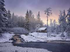 winter, водопад, ahvenkoska