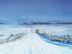 дорога, зимняя, снег