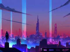 cyberpunk, art, building