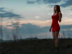 people in nature, небо красное платье