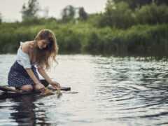 девушка, wash, река