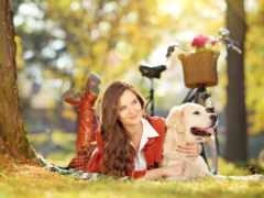 девушка, собакой, парке