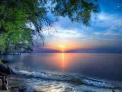море, закат, oir