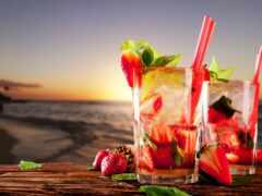 пляж, напиток, клубника