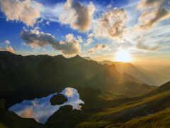 гора, рассвет, sun
