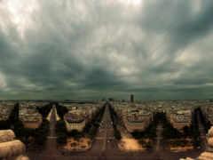 город, вечер, облака