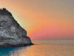 закат, ocean, rock