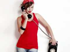 телефон, девушка, red