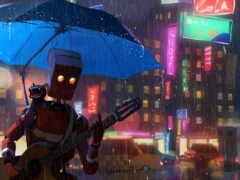 robot, зонтик, кот