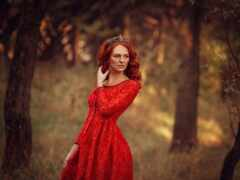 девушка, red, платье