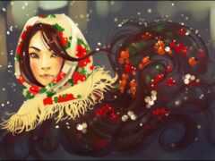девушка, winter, drawing