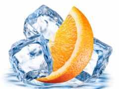 лед, кубик, оранжевый