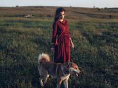 девушка, книга, трава
