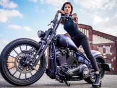 мотоцикл, девушка, harley