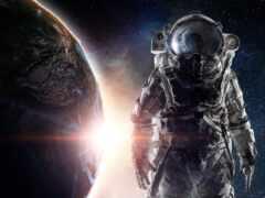 космонавт, космос, девушка