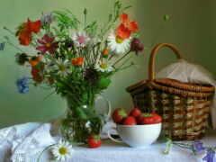 натюрморт, цветы, кувшин
