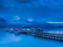 лодка, гора, pier