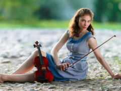 скрипка, женщина, модель