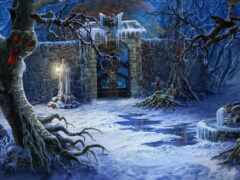 dark, winter, funart