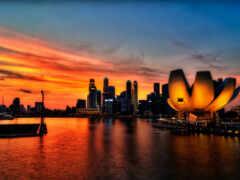 singapore, museum, закат