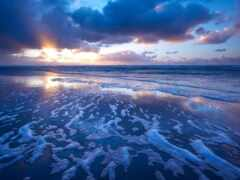 море, закат, волна
