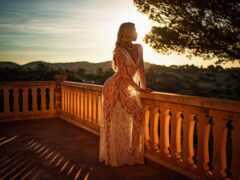 blonde, платье, женщина