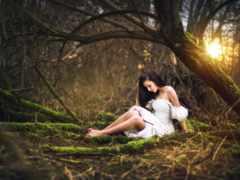 лесу, девушка, красивые