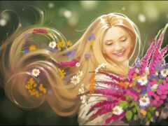 девушка, summer, цветы