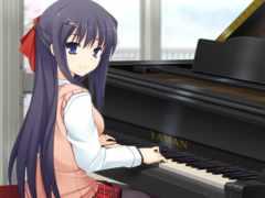 anime, piano, девушка