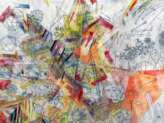 краски, чертежи, линии